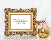 Wedding well wishes sign | Wedding wishing well sign | Wedding guest book sign | Leave a note for the newlyweds sign  S1