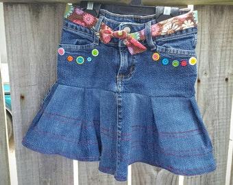 Girls Upcycled Jeans Skirt