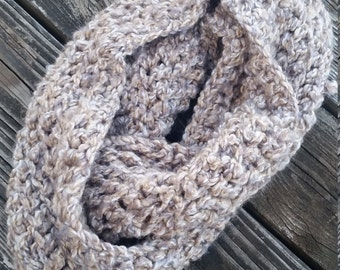 Soft Handmade Crochet Heather Brown Infinity Scarf