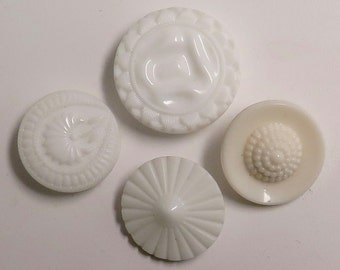 Group of 4 Vintage White Glass Buttons - Various Designs