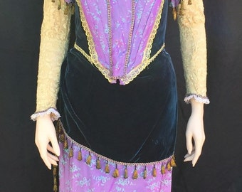 1880s Victorian Gown Costume Purple Green