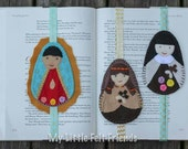 Custom Felt Saint Bookmark with elastic band - Bibles, journals, planners, novels, school books