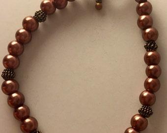 Perl copper bracelet