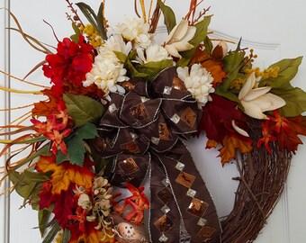 Autumn Grapevine Wreath, Fall Wreath, Fall Grapevine Wreath, Thanksgiving Wreath, Thanksgiving Grapevine Wreath, Grapevine Wreath