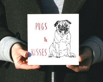 Pugs & Kisses: Hand Screen Printed Greetings Card