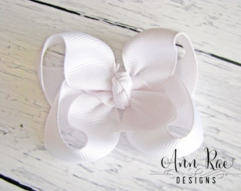 White Hair Bow, Baby Hair Bow, Baby Girl Hair Bow, Hair Bows For Girls, Girls Hair Bow, Baby bows, Hair Bow for Babies Headband Boutique Bow