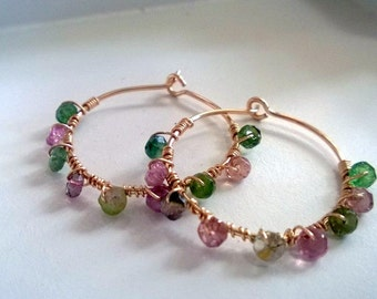 Gold Hoop Earrings, Gold filled and Tourmaline hoops, gold-filled hoops, tourmaline earrings