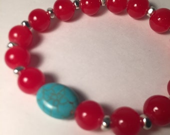 Turquoise & Red Stone Bracelet