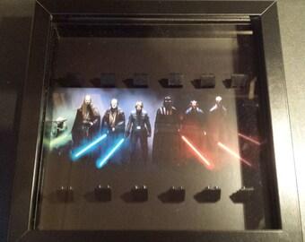 Star wars lego mini figure display frame/case