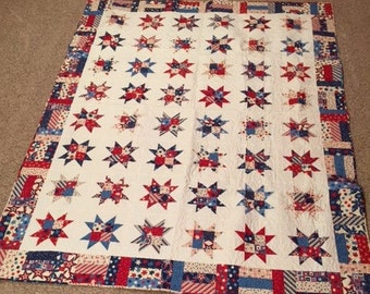 Patriotic hand pieced quilt, Americana, Red, white, and blue.  Twin size 70 x 90