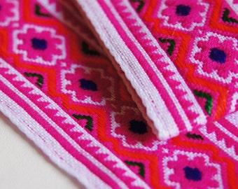 Full Roll 9m / 9.8 yards Pink Hmong Embroidered Fabric trim 45mm wide, Ethnic Trim, Tribal Trim ribbon, boho Trim, Fair Trade Hmong Trim