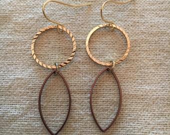 Gold & Copper Love Earrings