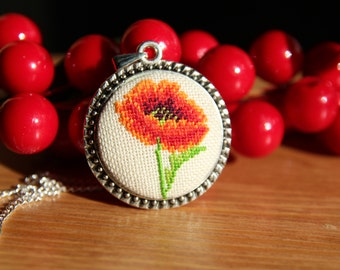 Cross stitch Necklace/Handmade Embroidered Jewelry/Gift For Her/Textile Pendant/Jewelry Cross Stitch/Faction Accessories/Poppy