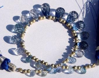 1/2 Strand 12 pcs 6x4-8x6 mm Swiss Blue Quartz Faceted Teardrop Briolettes, Gemstone Briolette, Semiprecious Beads BR46