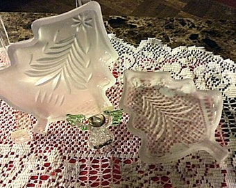 Pair of Vintage Frosted Glass Christmas Tree Dishes
