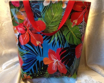 Large vinyl tote bag