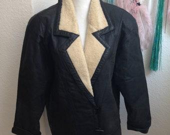 VINTAGE faux leather BLAZER lambskin