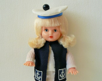 Vintage Russian Plastic Toy, Doll, Girl in Sailors Costume, USSR