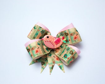 Patchwork bird double ribbon hair bow
