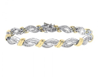 1.25 Carat Diamond Fancy Link 14K Two Tone Gold Bracelet