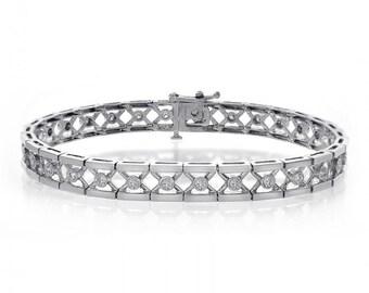0.75 Carat Round Cut Diamond Cross Link Bracelet 14K White Gold
