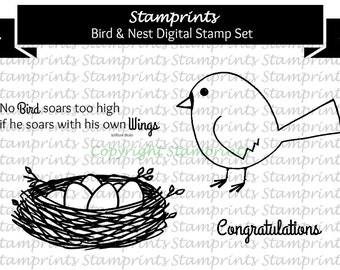 Digital Stamp Set - Bird & Nest MFS-168 (by Stamprints).Printable Hand Drawn Illustrations.PaperCrafts.Wall decor. Nursery