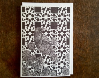 Raven Greetings Card, Blank Card, Roses, Free UK shipping, Fine Art, Hand Drawn Card, Bird Design, Drawing, Gothic, Geometric Design, Mono