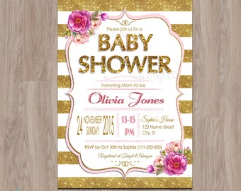 Pink and Gold Baby Shower invitation, Baby Shower Girl, Baby Girl Shower invitation, Pink Black Glitter, Girl Baby Shower, floral invitation