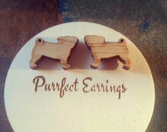 Wooden pug dog stud earrings