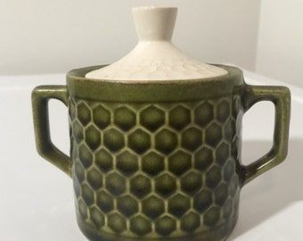 Green Honeycomb Sugar Pot