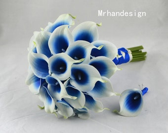 Silk Bridal Bouquet Wedding Package Groom's Boutonniere Real Touch Picasso Blue Calla Lilies Blue Wedding Bouquet