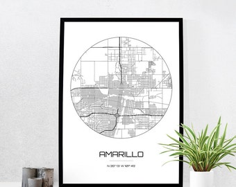 Amarillo Map Print - City Map Art of Amarillo Texas Poster - Coordinates Wall Art Gift - Travel Map - Office Home Decor