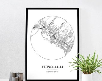 Honolulu Map Print - City Map Art of Honolulu Hawaii Poster - Coordinates Wall Art Gift - Travel Map - Office Home Decor