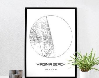 Virginia Beach Map Print - City Map Art of Virginia Beach Virginia Poster - Coordinates Wall Art Gift - Travel Map - Office Home Decor