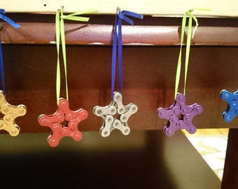 Bicycle Ornament. Star Shaped. Hade Made From Recycled Bicycle Chain. Multiple Colors. FREE SHIPPING!!