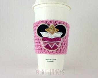 Princess Aurora Sleeping Beauty Coffee Cup Cozy / Crochet Coffee Sleeve / Reusable Cozie / Customizable