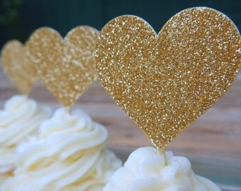12 x Gold Glitter Heart Cupcake Toppers. Wedding.Baby Shower. Hens. Bridal Shower. Heart Cupcake Topper. Champagne. Engagement. Champagne