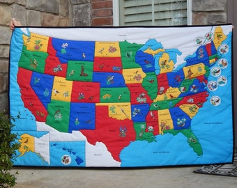 USA United States Map Quilt