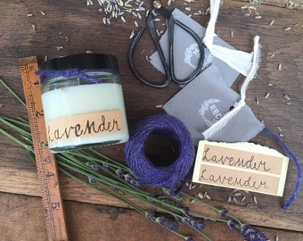 Lavender essential oil eco soya wax  candle in a clear 120 ml glass jar with lid
