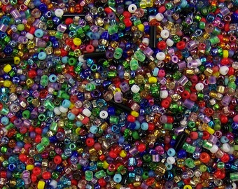 DESTASH, Seed beads, 20g Mixed Seed Beads, Assorted Seed Beads, Bead Soup, Multi-color Seed Beads, Bead Mix, Glass Seed Beads,Assorted Sizes