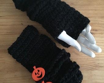 Black Fingerless Gloves with Pumpkin Buttons