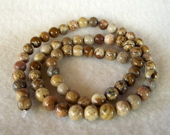 "15"" Strand of Beautiful 6mm Natural Round Brown Jasper Beads"