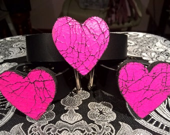 Pink hearts leather cuff and choker set.