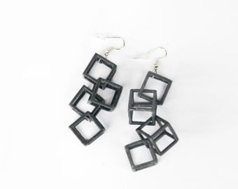 3D Printed Women Modern Cube Fashion Long Earrings