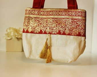 Red Brocade and Cream Purse