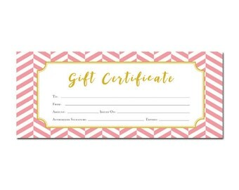 Personalised 50th birthday gift day you were born history chevron pink chevron gift certificate customer appreciation printable premade gift certificate template last minute gift ideas blank yelopaper Gallery