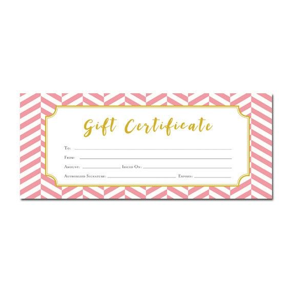 Chevron pink chevron gift certificate customer appreciation chevron pink chevron gift certificate customer appreciation printable premade gift certificate template last minute gift ideas blank from cafeink on negle Choice Image