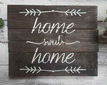Home Sweet Home Hand Painted Wooden Sign Home Decor Housewarming Gift Gallery Wall