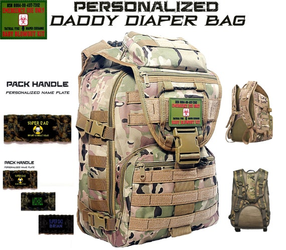 personalized camo daddy diaper bag super dad by cyclonexgear. Black Bedroom Furniture Sets. Home Design Ideas