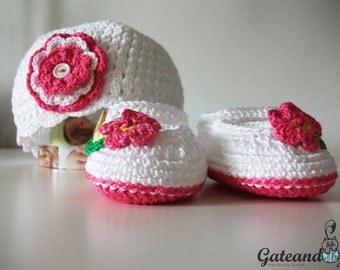 Hat and Booties Set. Crochet. Baby Clothes.